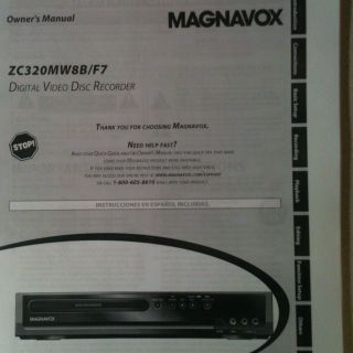 Magnavox DVD Recorder Owners Manual Only Model ZC320MW8B