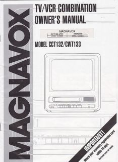 Magnavox TV VCR Model CCT132 CWT133 Owners Manual