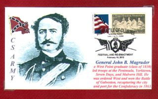General John B Magruder Confederate Army Civil War Cacheted Portrait