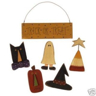 Primitive Wooden Halloween Magnets Wood Magnets Set 5