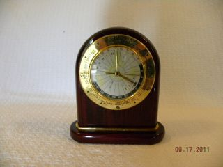 Mahogany Tabletop Clock with World Time Display