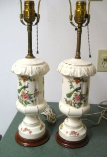Vtg Pair 2 Classic Retro Peacocks Foral Flowers Roses Porcelain Table