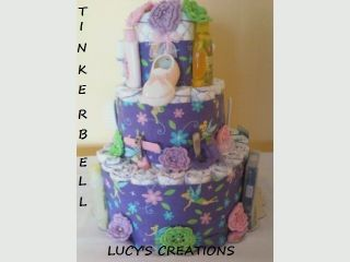 Baby Diaper Pamper Cake Tinkerbell Theme Baby Shower Gift Centerpiece