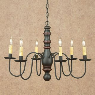 Manassas 6 arm Chandelier   Choose from 4 Colors  Country Colonial