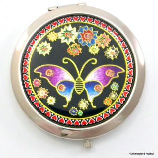 Steel Purse Compact Makeup Mirror New Butterfly Design