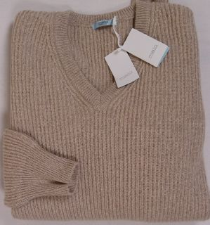 Malo Sweater $1295 Brown 100 Cashmere 8 Ply Blanket Knit V Neck Jumper