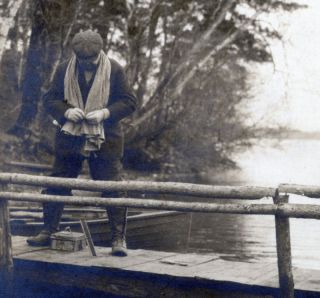1900 10S Fishing Pole Man Tackle Box Serene USA Photo