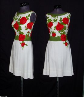 Red Rose Cotton Pique Linen Dress as Seen on Mad Men Size Small