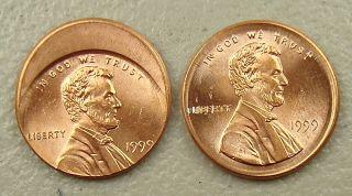 1999 Off Center Monster Broad Strike Lincoln Cent Errors Gem