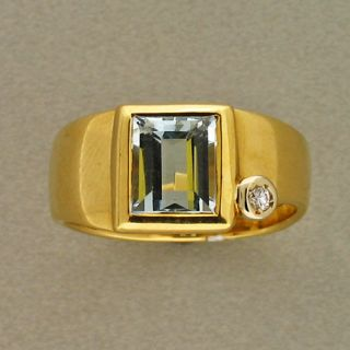 Estate Designer Manfredi 18K Yellow Gold Natural Aquamarine Round