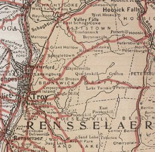 RENSSELAER COUNTY NEW YORK authentic Vintage Map TROY NY genuine 93