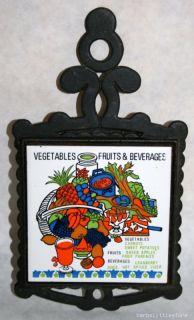 Vintage Fruit Vegetables Ceramic Tile Cast Iron Trivet