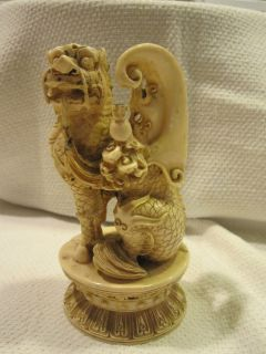 Vintage Asian Carved Ox Bone Winged Foo Dog Chinese Old Statue China