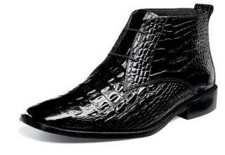Stacy Adams Mens Mancuso Black Crocodile Print Leather Lace Up Boot