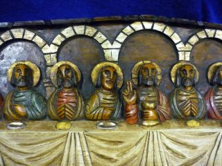 Rustic Carved Wood Painted Last Supper Wall Plaque Mantal Decor