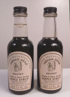 Two 1970s Maple Syrup Bottles Indian Head Resort Vermont