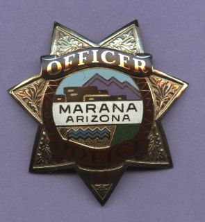 Obsolete Marana Arizona Police Badge Custom Die 7 Point Star