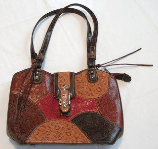 Marc Chantal Patchwork Leather Purse Handbag Red brown Vintage