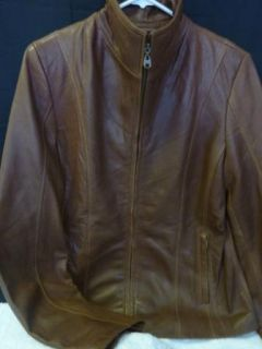 Marc New York Andrew Marc Ladies Lambskin Jacket Saddle Brown Size S