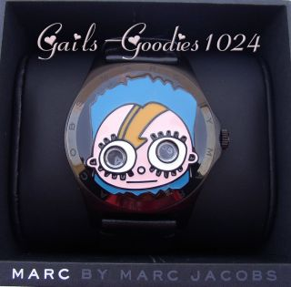 MARC by MARC JACOBS Mr Marc Sidney Mens Leather Stainless Watch New w