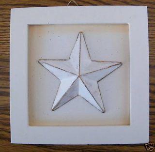 FRAMED WHITE Metal Barn STAR pRiMiTiVe Country art Sign C Stpre 4