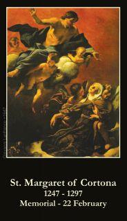 Saint St Margaret of Cortona Holy Prayer Card