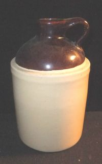 Crock BROWN Stoneware JUG Whiskey BOTTLE Maple SYRUP Made USA Crockery