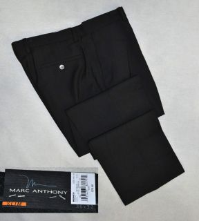 Marc Anthony Dress Pants Slim Fit Flat Front Black New NWT $70 Mens 36