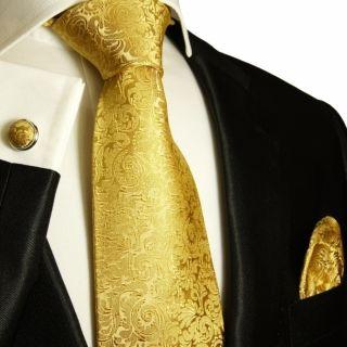 902CH Necktie Set Silk Tie Gold Paul Malone Silk Necktie Set