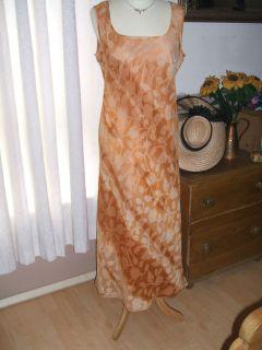 Mariella Rosati Italian Silk Dress Peach Apricot Wedding Size 14 New