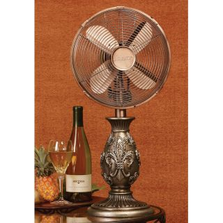 Deco Breeze Fleur de Lis Decorative Handcrafted Table Fan