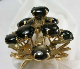 14k Gold Star Black Sapphires Cocktail Ring Vintage Estate Jewelry