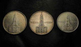 LOT 3 GERMANY SILVER COINS 1934 5 2 MARK A G MINT SWASTIKA NAZI HITLER