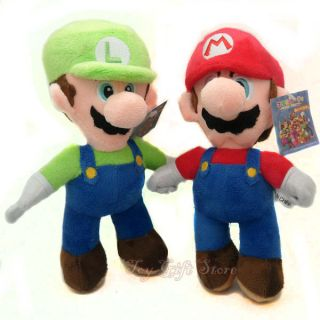 New Super Mario Bros Stand Mario Luigi 2 Pcs Plush Doll Stuffed Toy 8
