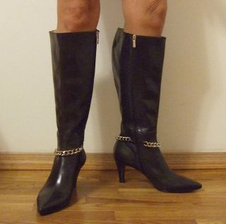 New Marina Rinaldi Leather Boots 40 10 US Brown Heels Italian