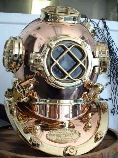 Strong US Navy Mark V Divers Diving Helmet with Base
