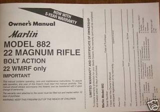 Marlin Model 882 22 Magnum Bolt Action Rifle Manual