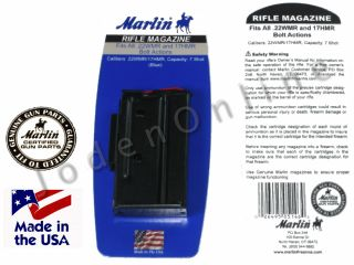 Marlin 22 WMR 17 HMR BOLT ACTION RIFLE Magazine 71920 7 RD Blued   917