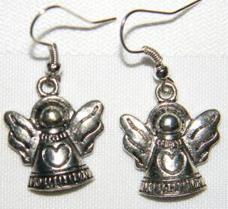 12101 Cute Tibet Silver Cat Angel Charm w Hypo Allergenic Surgical