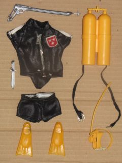 Vintage 70s Big Jim 8580 Mark Strong Diver Doll Outfit