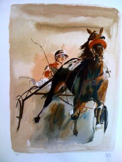Mark King Harness Racing Ed s N Horse Sulky Print