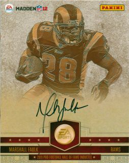 Marshall Faulk Signed Autographed Madden NFL 12 Panini Card ea FAULK4