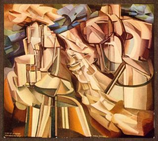 1914 Print King Queen Marcel Duchamp Chess Cubism Geometric Abstract