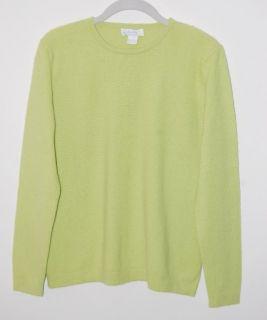 Marshall Fields 100 Cashmere Bright Green Crew Crewneck Sweater L