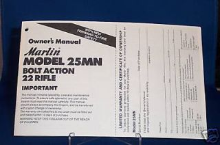 Marlin Model 25MN Bolt Action 22 Rifle Manual