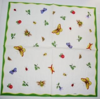 Traditional Paper Napkins Bees and Butterflies
