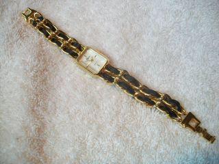 Margaux Ladies Designer Watch Goldtone Blk Leather