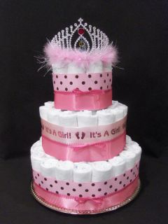 Pretty Pink Princess Modern 3 tier Diaper Cake baby shower unique
