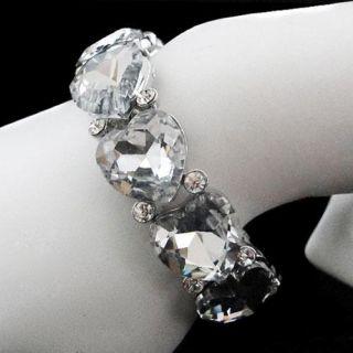 Wedding Love Heart Stretch Bracelet w Rhinestone Crystal