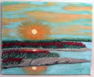 Sunset Beach Landscape Ocean Sound Marsh Original Oil Painting Nature
